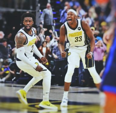 Wesley Matthews and Myles Turner of the Indiana Pacers