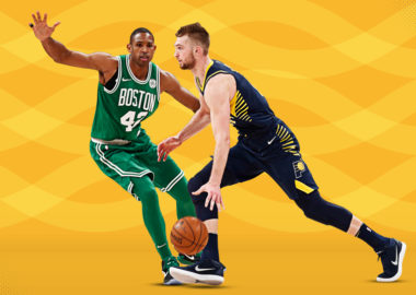 Domantas Sabonis of the Indiana Pacers and Al Horford of the Boston Celtics
